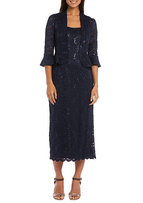 R & M Richards Long Lace Jacket Dress