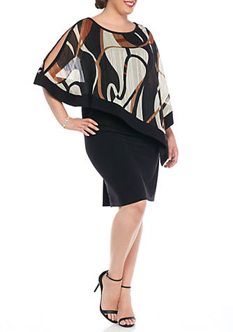 RM Richards Plus Size Dress with Printed Sheer Overlay | belk