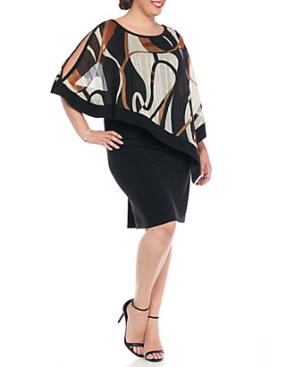 RM Richards Plus Size Dress with Printed Sheer Overlay   belk