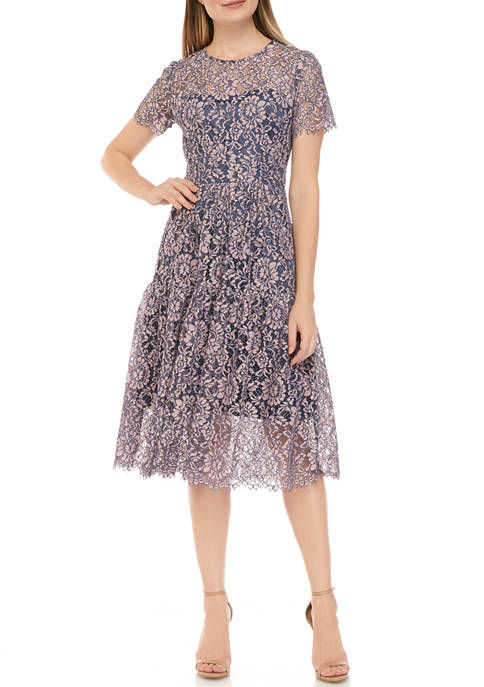 Eliza J Womens Short Sleeve Tiered Lace Midi