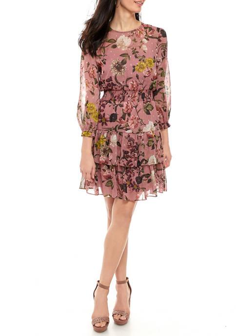 Womens Long Sleeve Ruffle Tiered Dress