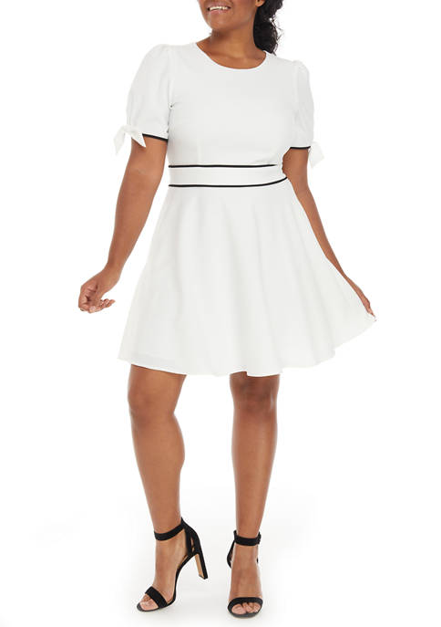 Womens Short Puff Bow Sleeve Fit-and-Flare Dress