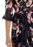 Womens 3/4 Sleeve High Low Chiffon Wrap Dress