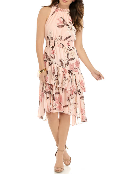 Womens Halter Smocked Waist Asymmetric Ruffle Chiffon Dress