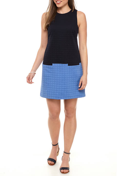 Womens Sleeveless Textured Color Block Shift Dress