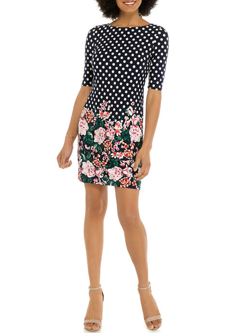 Eliza J Womens Short Sleeve Polka Dot Dress