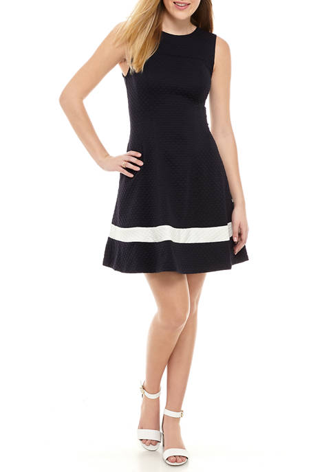 Womens Sleeveless Textured Fit and Flare Dress