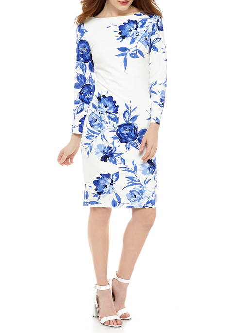Womens Long Sleeve Fitted Floral Midi Dress