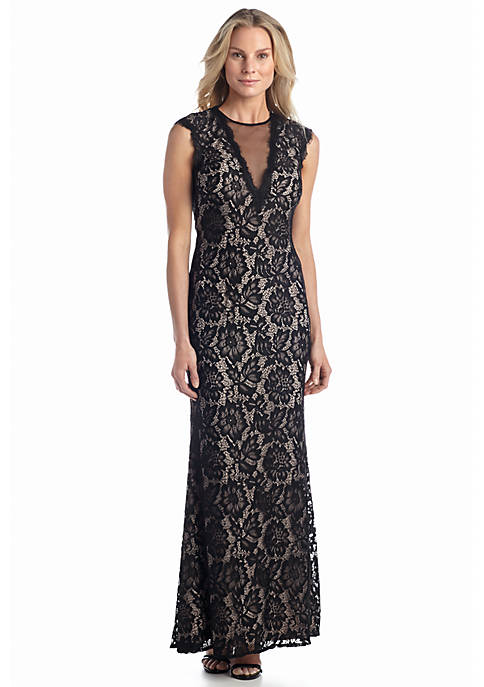 Betsy & Adam Open Back Lace Gown