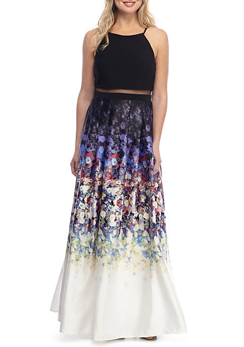 Betsy & Adam Two-Piece Illusion Gown with Printed
