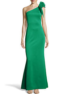 Betsy & Adam Bow Shoulder Gown