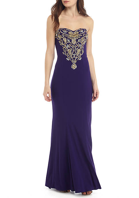 Betsy & Adam Strapless Bead Embellished Jersey Gown