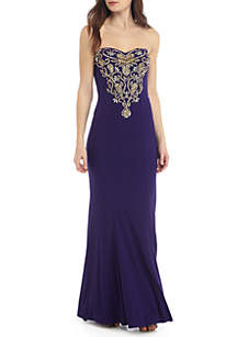 Strapless Bead Embellished Jersey Gown