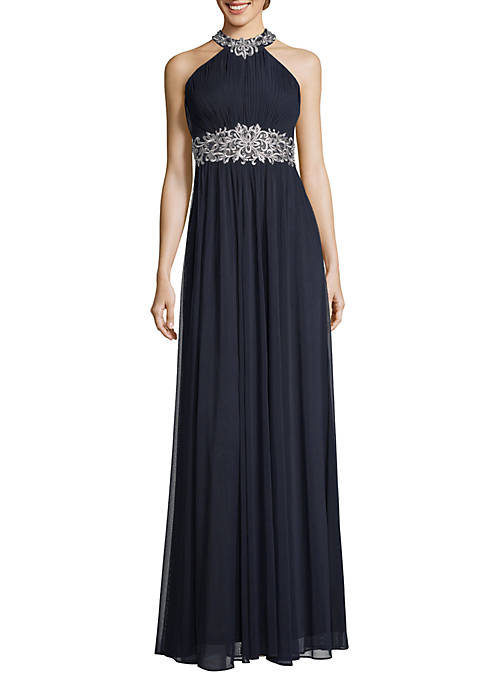 Embroidered Pleated Halter Gown