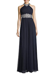 Betsy & Adam Embroidered Pleated Halter Gown