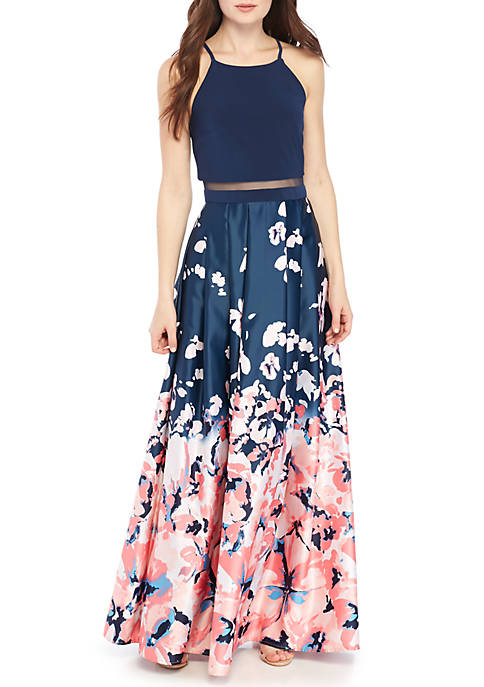Betsy & Adam Floral Printed Illusion Mesh Waist Gown | belk