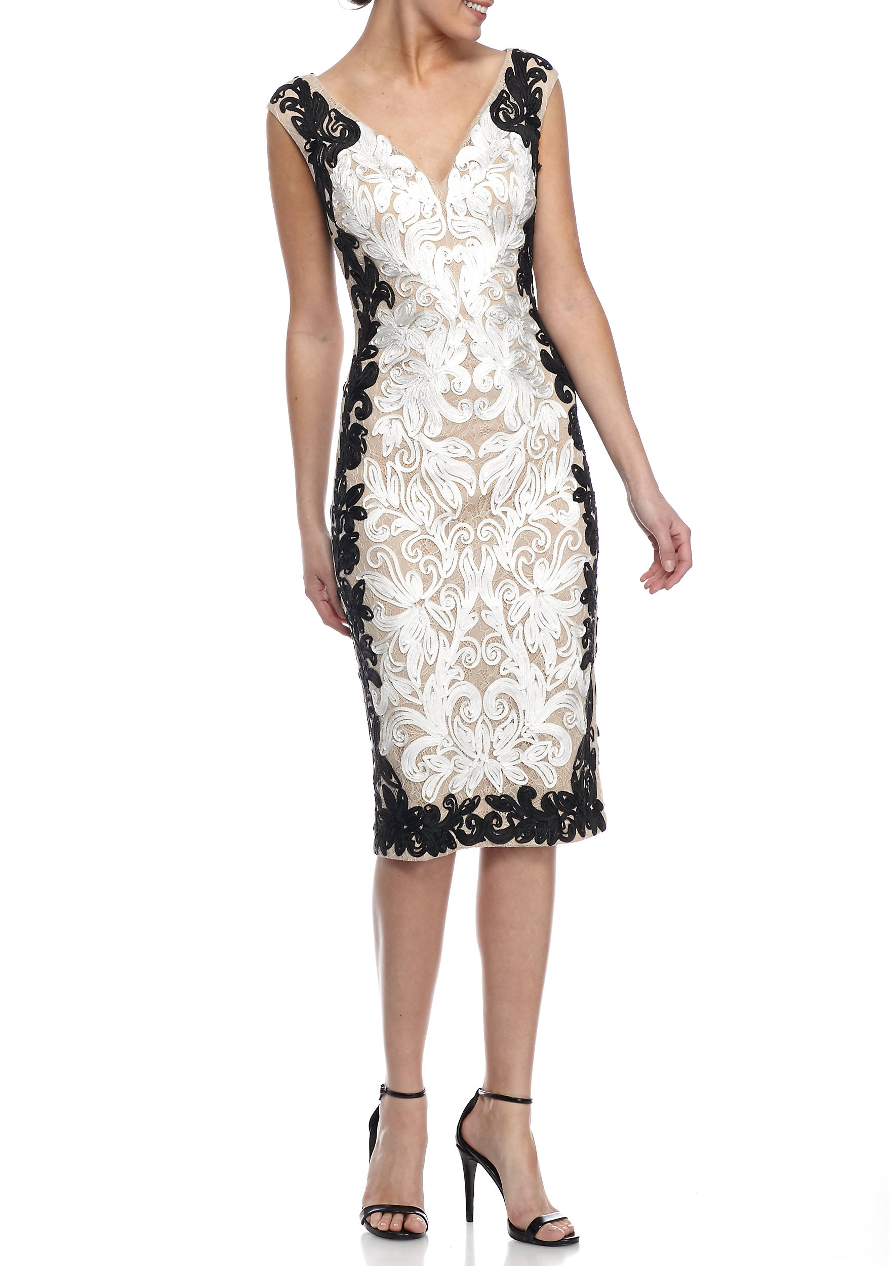 Betsy & Adam Embroidered Lace Cocktail Dress   belk