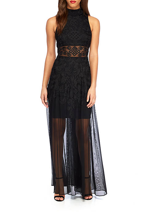 Betsy & Adam Embroidered Mock-Neck Gown | belk