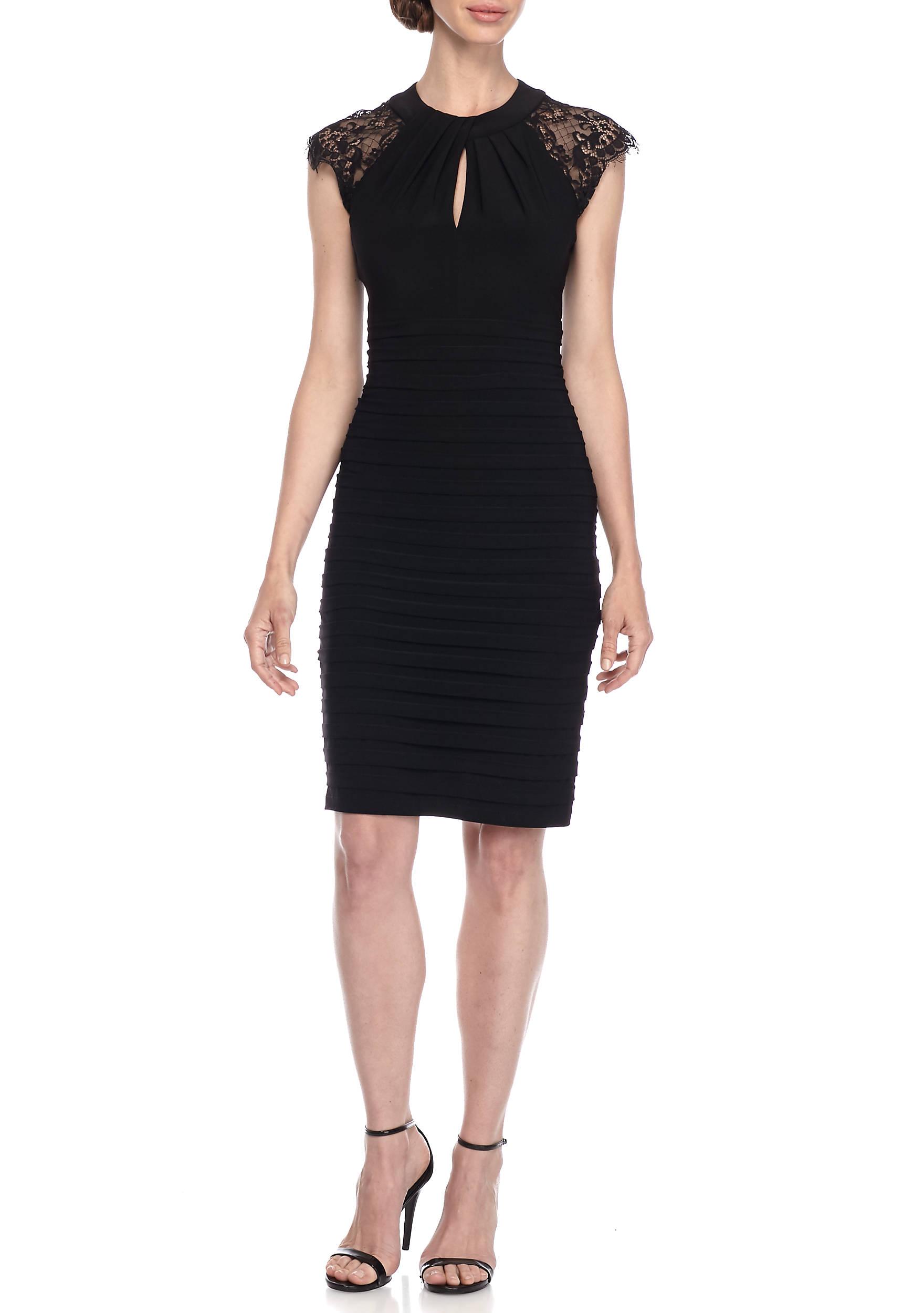 Betsy & Adam Lace Shoulder Cocktail Dress   belk
