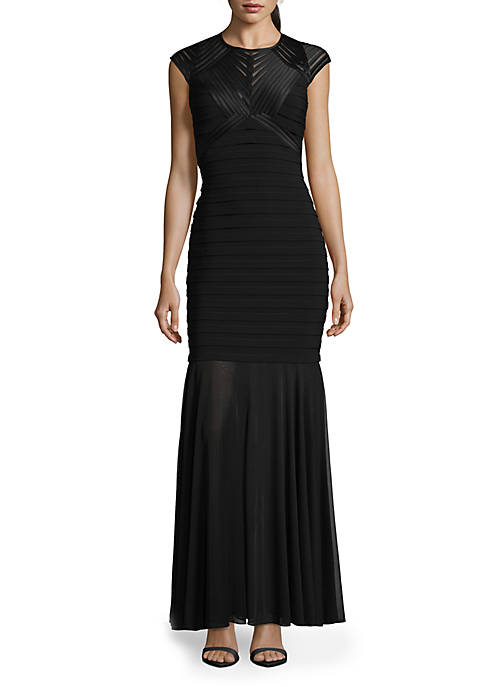 Betsy & Adam Cap Sleeve Tuck Pleated Gown
