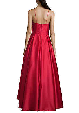bfb7a5ae9d245 ... Betsy   Adam Satin High Low Hem Ball Gown