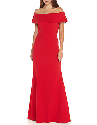 708f3fb7d89 Betsy   Adam Off the Shoulder Ruffle Back Gown