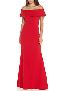 Betsy & Adam Off the Shoulder Ruffle Back Gown