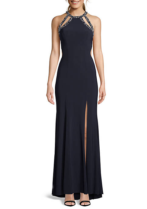 Bead Embellished Open Back Jersey Gown