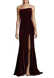 Strapless Velvet Long Gown