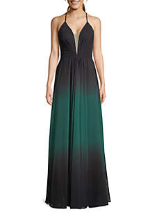 a4b66150c90 ... Betsy   Adam Deep V Neck Lace Up Back Chiffon Gown