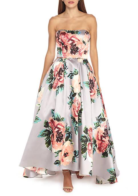 Betsy & Adam Strapless Floral Printed Hi-Lo Hem Ball Gown | belk