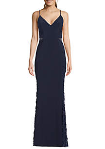 Betsy & Adam Long Spaghetti Strap V-Neck Cut Out Gown