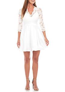Long Sleeve V-Neck Lace Short Dress