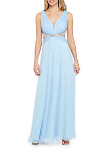 Bead Embellished Strappy Back Pleated Chiffon Gown