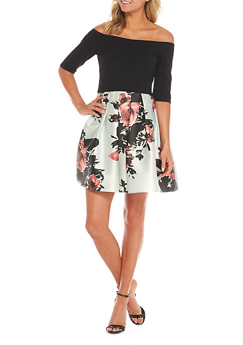 Betsy & Adam Off Shoulder Print Fit-and-Flare Skirt