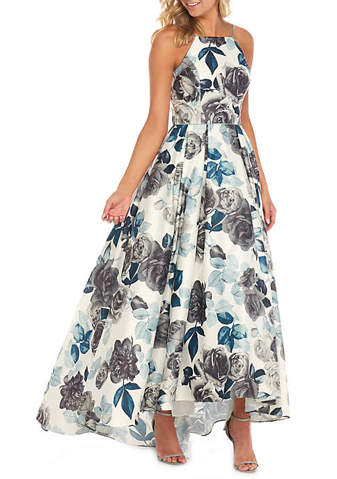 Betsy & Adam High Neck Printed Ball Gown