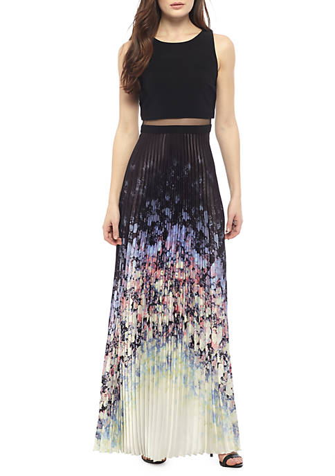 Betsy & Adam Mock Two-Piece Illusion-Waist Pleated Gown