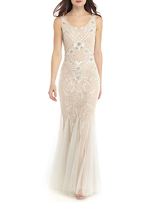 32a0530f385a Betsy & Adam. Betsy & Adam Bead Embellished Embroidered Mesh Godet Gown