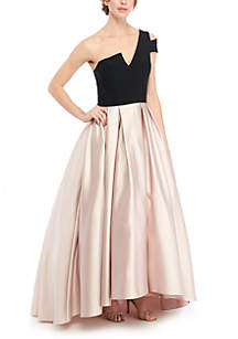 Betsy & Adam One Shoulder 2 Tone High Low Ball Gown