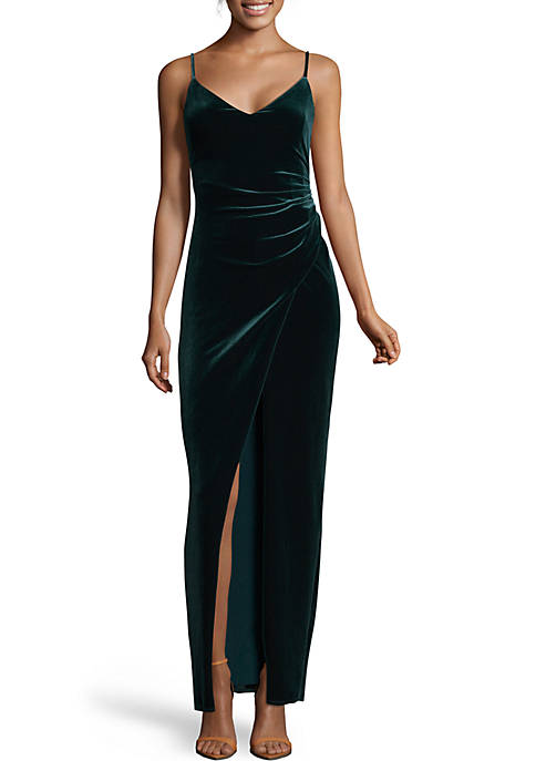 7c2a03d897 Betsy   Adam Long Ruched Velvet Gown