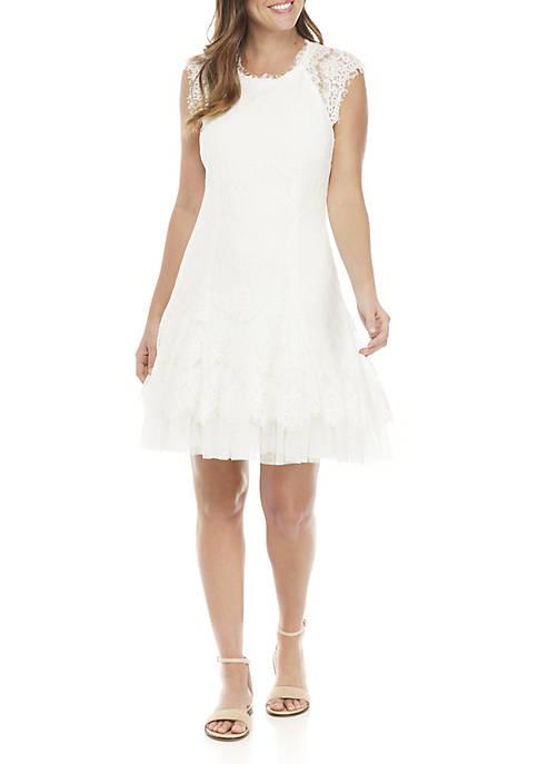 Betsy & Adam Short Sleeve Lace Short Dress
