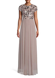 Betsy & Adam Embroidered Sequin Bodice Chiffon Gown