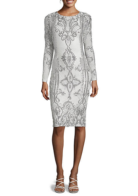 Betsy & Adam Embroidered Sequin Mesh Cocktail Dress