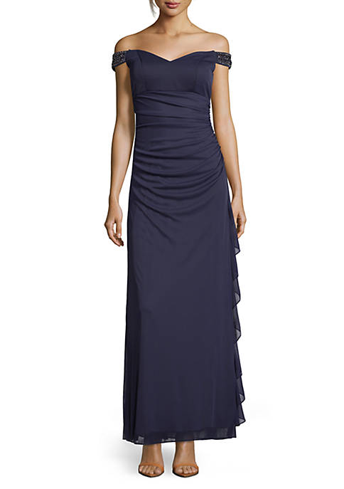 Betsy & Adam Off-The-Shoulder Long Gown