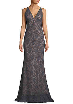 74686d17df88 Betsy   Adam Glitter Lace V Neck Gown ...