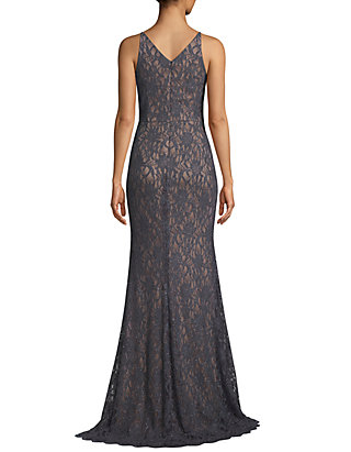 f8aa4d1006a ... Betsy   Adam Glitter Lace V Neck Gown