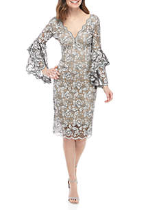 Betsy & Adam Beaded Lace Cocktail Dress