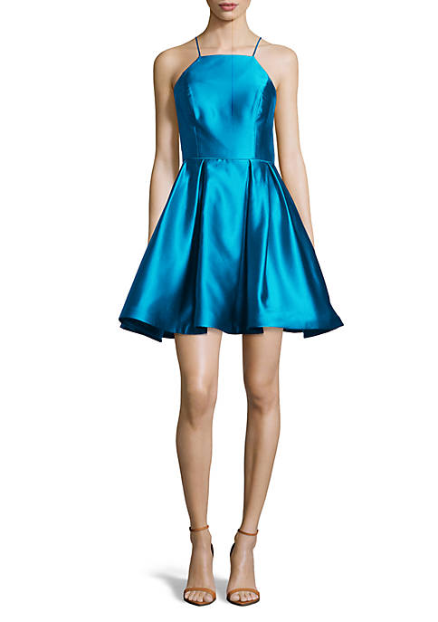 Betsy & Adam Sleeveless Satin Fit and Flare