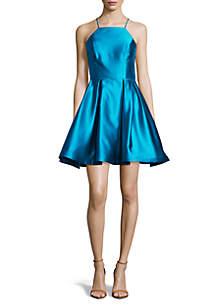 Betsy & Adam Sleeveless Satin Fit and Flare Short Dress