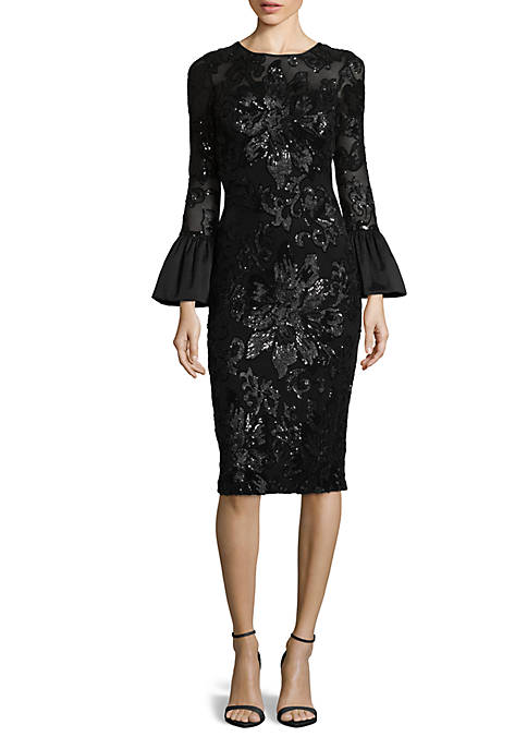 Betsy & Adam Bell Sleeve Lace Cocktail Dress